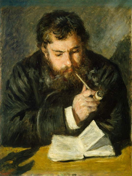 Pierre-Auguste Renoir: 'Claude Monet lezend en pijprokend' (1873-1874)
