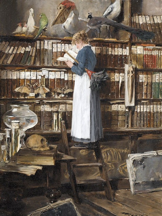 edouard-john-mentha-maid-reading-in-a-library