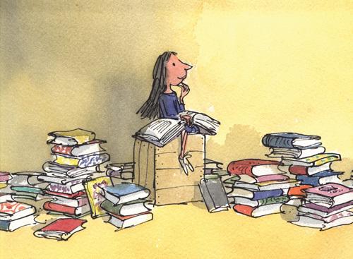 Matilda uit het gelijknamige boek van Roald Dahl. Illustratie: Quentin Blake