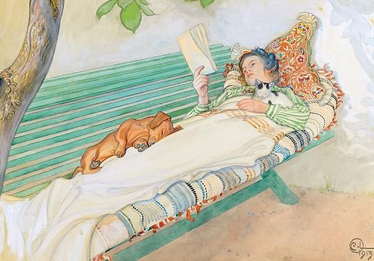 Carl Olof Larsson: 'Jonge vrouw liggend op een banc' (detail), 1913.