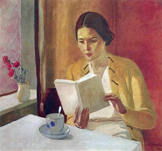 Alexander Deineka: 'Jonge vrouw met boek' (1934)